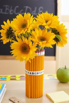yellow sunflowers in a pencil vase