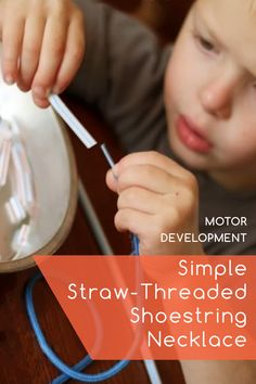 #Knoala Late Preschooler activity 'Simple Straw-Threaded Shoestring Necklace' helps little ones develop Artistic and Motor skills. Click for simple instructions
