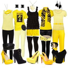 Hufflepuff Outfits.. by indie-psycho on Polyvore featuring polyvore, art, hufflepuff, black and yellow