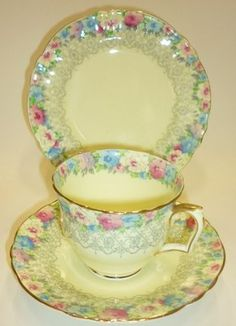 Staffordshire England Vintage English China Tea set Tea cup Trio Cream Blue & Pi