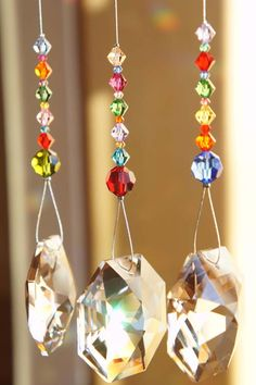 crystal suncatchers with colored beads to add to wreath for living room window