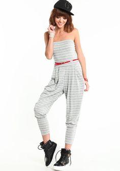 Grey Striped Harem Jumpsuit, GREY, large