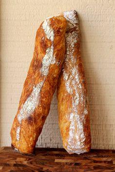 Italian Baguettes from Karen's Kitchen Stories. Ciabatta, Quick Bread, How To Make Bread, Bread Recipes, Cooking Recipes, Sourdough Recipes, Italian Bread, Baking Stone, Baguette