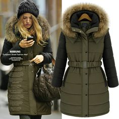 2013 Winter Fashion Thick Women Army Green Military Long Wadded Cotton-padded Fur Hooded With Belt Jacket Snow Wear Parka Coats $69.99