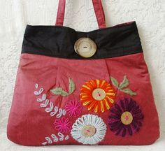 Naomi – red and black silk bag with embroidery - Folksy