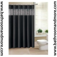 "Bathroom And More - Black Fabric Shower Curtain with Sheer Winodw Sequin Crossed Veil Window 72"" X 72"" with Metal Grommets, $20.99 (http://www.bathroomandmore.com/products/black-fabric-shower-curtain-with-sheer-winodw-sequin-crossed-veil-window-72-x-72-with-metal-grommets.html)"