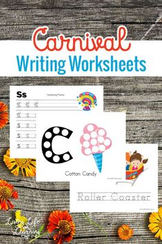 Are you visiting a carnival this summer? Get writing with these carnival writing worksheets for your preschooler or kindergarten student. Bring the carnival into your home this summer. - Education and lifestyle Activities For Autistic Children, Printable Activities For Kids, Preschool Learning Activities, Writing Activities, Fun Learning, Circus Activities, Summer Activities, Toddler Activities, Free Printables