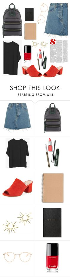 """""""First day of junior year"""" by sarah-rayye ❤ liked on Polyvore featuring RE/DONE, Marc Jacobs, Clinique, Charles David, VANINA, Smythson, Garrett Leight and Chanel"""