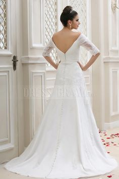 Gorgeous Off-the-shoulder Half-Sleeve A-Line Embroidery Talines Wedding Dress WD-11036: Dressbraw.com