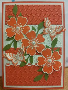 Cardstock Tangarine Tango, Very Vanilla. Stamp Sets Papillon Potpourri, Morning Meadow. Little Leaves Sizzlits.