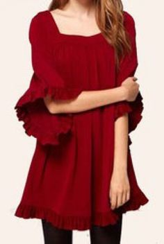 Super Cute! Love the Back Detailing! Red Loose Sleeve Dress #Cute #Red #Dress #Holiday #Fashion