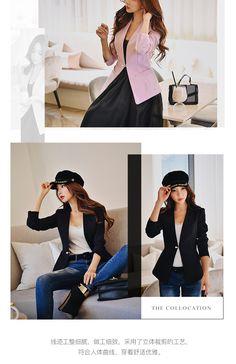 aea37dd332 Dabuwawa Primavera Senhora do escritório Blazers Elegantes Mulheres 2019  Novos Ternos Único Botão Fino Safra Curta