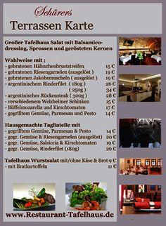 Schürers Terrassen Karte im Restaurant Tafelhaus in Backnang ( bei Stuttgart, Waiblingen, Fellbach, Winnenden)