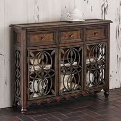 Clairmont Console Table - Scrolled iron with faux metal on its top and three drawer fronts. #console  #furniture #table
