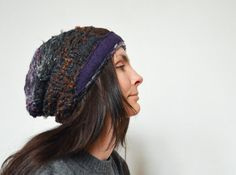 Slouchy hat hand knitted shiny yarn soft warm brown by ZOJKAshop, $33.00
