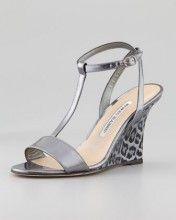 Lette T-Strap Ankle-Wrap Wedge Sandal