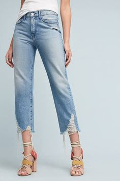 Turn an old pair of bootcut jeans into distressed boyfriend jeans ...