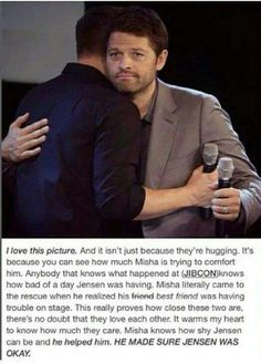 Im pretty sure this is a when Gens sister got in an accident and Jared and Gen went to the hospital but Jensen was at this con and he was worried and distracted then Misha came out and did this