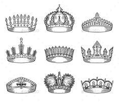 Sketch for king or monarch, prince or queen, princess crown, pope tiara or headdress. Set of isolated royalty sign or imperial insignia. Jewelry and royalty, wealth and medieval or victorian theme King Crown Drawing, Tiara Drawing, Queen Drawing, King Queen Princess, King And Queen Crowns, Queen Art, Princess Crown Tattoos, Princess Tattoo, Crown Art