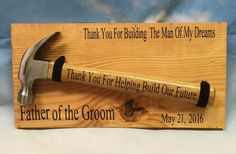 Father of the Groom wedding hammer sign by unameitpersonalized