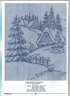 Ideas For Crochet Christmas Village Winter Scenes Cross Stitch House, Xmas Cross Stitch, Cross Stitch Charts, Cross Stitch Designs, Cross Stitching, Cross Stitch Embroidery, Embroidery Patterns, Cross Stitch Patterns, Cross Stitch Landscape
