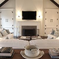 Angie Gren Interiors - living rooms - gray, walls, cathedral ceiling, tv, slate, fireplace, white, slipcover, sofas, blue, pillows, reclaimed, wood, oval, console, table, glossy, black, gourd, lamps, espresso, stained, wood beams, U shaped furniture arrangement, white slipcovered sofas,