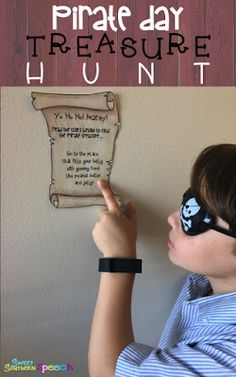 pirate themed treasure hunt in school for speech therapy - FREE download! Make your own!