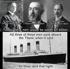There's a conspiracy theory that links the Rothschild's, the sinking of the Titanic, and the creation of the Federal Reserve. On Friday I stumbled across a tweet sent in reply to a prominent finance parody account on Twitter. It featured the black-and-white image of three men and the Titanic. The text on the photos named Benjamin Guggenheim, Isa Strauss (actual name Isidor Straus), and David Astor as three wealthy men who died on the Titanic. So far, so good — the men were all real and…