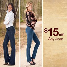 """TALL DENIM LOVERS! $15 off ALL jeans, for two days only... 36"""" to 39"""" inseams long enough for ya? http://www.longelegantlegs.com/jeans #Bootcut #Skinny #Jeans #FlashSale"""