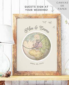 Globe Guest Book Alternative - Travel Theme Wedding - Unique Guest Book Idea - Wedding Guest Sign In - Canvas Guest Book - EUROPE