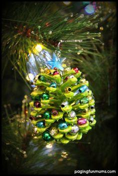 Beaded Pinecone Christmas Tree Ornament  :http://pagingfunmums.com/2013/12/05/beaded-pinecone-christmas-tree-ornament/