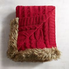 Faux Fur Trim Red Cable Knit Throw
