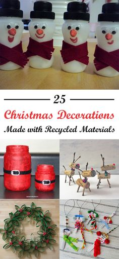 25 Christmas Decorations Made with Recycled Materials Christmas decorations don't have to break the bank. Use these homemade ideas for holiday decorating on the cheap. Recycled Christmas Decorations, Homemade Christmas Decorations, Christmas Paper Crafts, Diy Christmas Tree, Christmas Projects, Diy Crafts Recycled Materials, Recycled Decor, Upcycled Crafts, Diy Crafts To Do