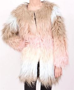 CELEBRITY OMBRE DIP DYE SHAGGY FAUX FUR COAT JACKET MULTICOLOURED 12 in Vêtements, accessoires, Femmes: vêtements, Manteaux, vestes | eBay