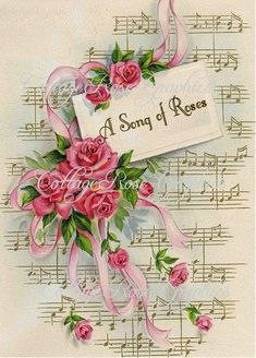 Large digital download A song of Roses pink roses 5x7 vintage sheet music greeting card Link Shared via Saturday's Seller Showcase http://cinnamonrosecottage.blogspot.com/2013/07/saturdays-seller-showcase-at-cinnamon.html