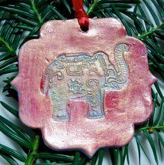 Elephant Christmas Tree ornament by Clayshapes $15