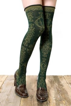 MONOGRAM ON WROUGHT IRON/Dark Green Grimoire Verum Tights high socks Dolly Kei