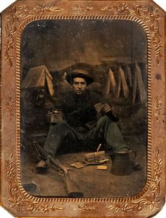 ca. 1860's, [tintype portrait of Federal infantryman enjoying a meal]