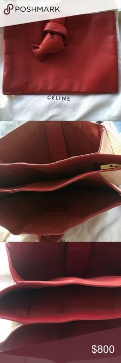 Celine knot red clutch bag Celine knot red clutch bag used with dust bag Authentic limited hard to find in red Celine Bags Clutches & Wristlets