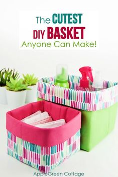 Fabric Storage Baskets, Fabric Boxes, Sewing Baskets, Sewing Projects For Beginners, Sewing Tutorials, Sewing Crafts, Tutorial Sewing, Dress Tutorials, Sewing Pattern Storage