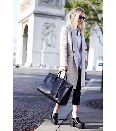On Hagelstam: Ray-Ban sunglasses; Hoss Intropia coat; Cos shirt; Zara pants; Stella McCartney shoes