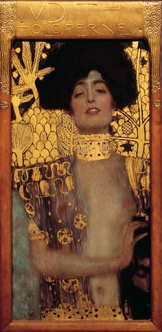 "Gustav Klimt (1862-1918) - Judith and the Head of Holofernes. Oil and Gold on Canvas. Circa 1901. 33.1"" x 16.5""  (84cm × 42cm). Österreichische Galerie Belvedere, Vienna, Austria."