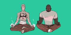 Luke and Danny fanart by phinedel Marvel Defenders, Ultimate Spider Man, Luke Cage, Iron Fist, Danny Rand, Funny Tattoos, Marvel Art, Marvel Memes, Punisher