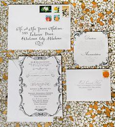 Gorgeous invites for Savannah + Eric's ballroom wedding at The Mayo Hotel in Tulsa! Larissa Nicole Photography. #bridesofok #invites #ballroom #elegant #wedding #suite #invitations #design #tulsa #TheMayoHotel #oklahoma