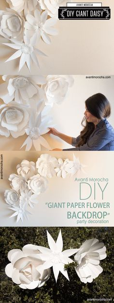 DIY Giant Paper Flower Backdrop / Mural de Flores de Papel gigantes. Weddings, Bodas , Event decoration                                                                                                                                                     Más