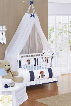 MOSQUITEIRO DE TETO EM VOIL COORDENADO Baby Room Themes, Baby Boy Rooms, Baby Bedroom, Baby Room Decor, Baby Boy Nurseries, Baby Cot Bumper, Baby Crib Bedding Sets, Kids Room Design, Baby Kind