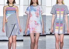Tanya Taylor S/S 2014-Striped Form – Colour Plays through Striped Pattern – Stipple Brush Techniques – Flowing Pattern – Contrasting Colour use through Stripes – ...