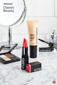 These four faves from Sonia Kashuk will give you an event-ready, classic look in no time. Start with the Perfecting Luminous Foundation for flawless, hydrated skin and an all-over glow. Use the Eye Shadow Quad in Showstoppers for a neutral eye with just the right amount of shimmer, and top it off with Lashify Mascara. (Bonus: the two-sided wand has a comb for getting rid of clumps and separating lashes.) Finish the look with a red lip like Satin Luxe Lip Color in Classic Red.