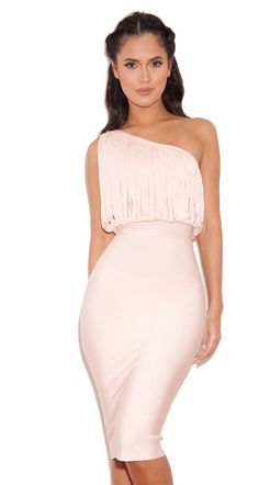 Herve Leger One Shoulder Alala Blush Fringed Bandage Dress
