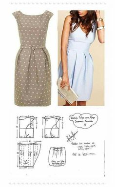 The best DIY projects & DIY ideas and tutorials: sewing, paper craft, DIY. DIY Women's Clothing : molde vestido manga japonesa y falda tulipán -Read Plain dress with pleated waistline, pattern. DIY your photo charms, compatible with Pandora bracelets. Dress Sewing Patterns, Sewing Patterns Free, Free Sewing, Clothing Patterns, Free Pattern, Skirt Patterns, Fashion Sewing, Diy Fashion, Ideias Fashion